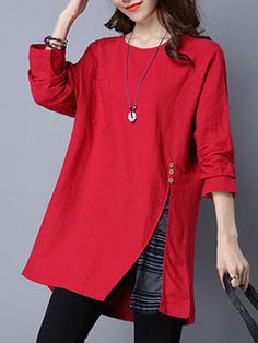 O-Newe Plus Size Loose Solid Long Sleeve High Low Hoodie For Women - Newchic Mobile
