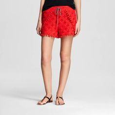 Add a pop of pizzazz to your warm-weather looks with these Women's Crochet Shorts with Pom Poms in Coral by Xhilaration™ (Juniors'). Fun pom pom accents bring a whimsical touch to this must-have pair. $22.99 (affiliate link)