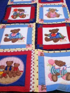 """Quilt Teddy Bears animated Twin 64"""" x 46"""" wall hanging cotton brights pastels  #HandmadeMachinestitchedTheme"""