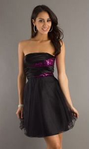 Tulle Strapless Sequins Pleated A-line Empire Cocktail Dress
