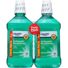 Equate Antiseptic Mouthrinse, Spring Mint (Green), L, 2 Ct Best Oral, Bad Breath, Mouthwash, Oral Hygiene, Oral Health, Take Care Of Yourself, Your Smile, Spring, Mint Green