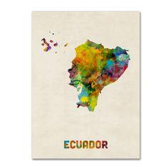 Trademark Fine Art Michael Tompsett 'Ecuador Watercolor Map' Canvas Art