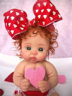 """❤OOAK VALENTINE  BABY GIRL """"SUGAR PIE""""   BY: JONI INLOW* DOLLY-STREET❤"""