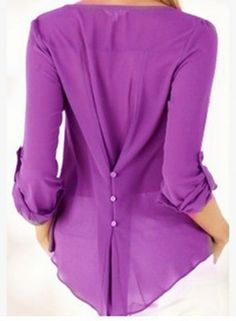 The blouse is featuring v neck, pullover style, long sleeve, solid color and irregular hemline.;Polyester, soft and comfortable;The blouse is featuring v neck, pullover style, long sleeve, solid color and irregular hemline.;Package Contents:1*Blouse (No a