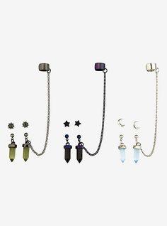 Blackheart Moon Star Crystals Cuff Earring Set, Ear Jewelry, Cute Jewelry, Jewelery, Jewelry Accessories, Bullet Jewelry, Fantasy Jewelry, Gothic Jewelry, Modern Jewelry, Indian Jewelry