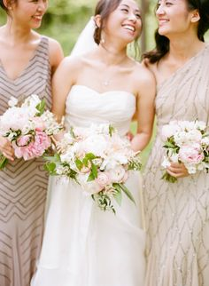 Love the beautiful, pale bridesmaids dresses...and bouquets via life in bloom chicago blog