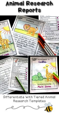 Animal reports are fun, informative writing activities for kids! Provide students in first grade, 2nd grade, and 3rd grade with the differentiated animal report templates. This package of printables provides a variety of writing templates that students can use as they develop their informational writing skills. These templates support students as they work through the writing process from making jot notes to creating their drafts and final copies.