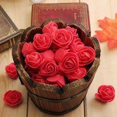 100 Pcs Mini Artificial Rose Heads - Red