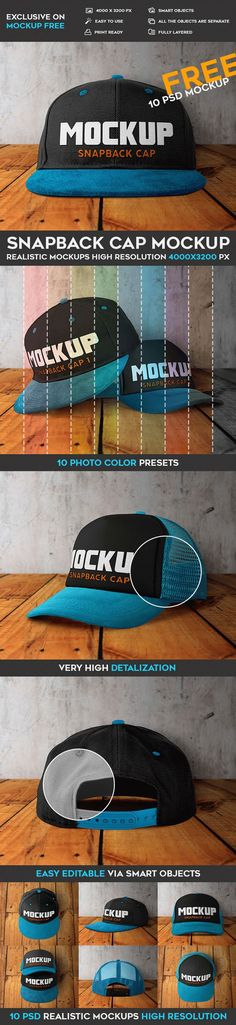 This Free Mock-Up can be good for creating designers portfolio as well. Mockup Templates, Templates Free, Cool Packaging, Snapback Cap, Presentation Design, Free Photoshop, Designers, Baseball Caps, Learning Resources