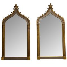 Pair of Carved Wood Gothic Revival Mirrors | From a unique collection of antique and modern wall mirrors at…