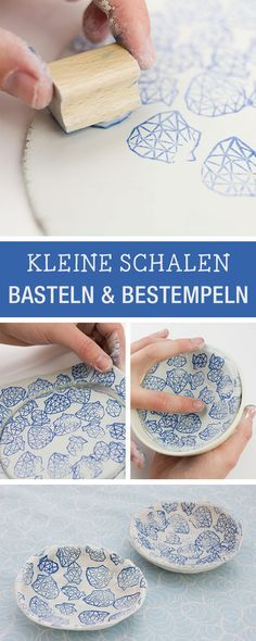 DIY-Anleitung für eine bestempelte Tonschale / diy inspiration for a handcrafted and stamped bowl via DaWanda.com