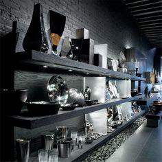 Michael Aram Store Shelving Display, Room Shelves, Place Settings, Dining Room, Retail, King, Lifestyle, Elegant, Storage