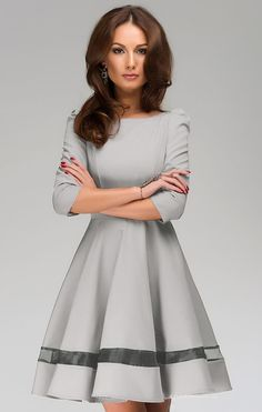 Grey Round Neck Pleated Dress