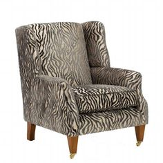 A statement accent chair in a stylish patterned fabric.