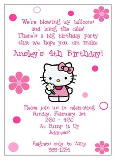 Another Invite Hello Kitty Birthday Invitations Theme Party Custom