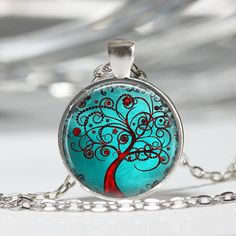 Tree of Life Red SwirlyTree Turquoise Sky by MissingPiecesStudio