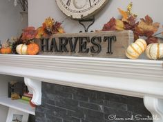 Fall and Thanksgiving Mantel  with lots of other fall decorating ideas.