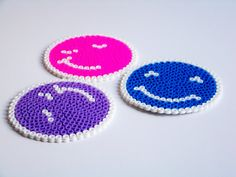 sandylandya@outlook.es  pixel bead 3 pcs faces coasters.. hama bead