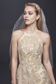 f17220ad Allover Lace Applique Halter Petite Ball Gown Style 7SWG801, Gold, 12P  Bridal Party Dresses