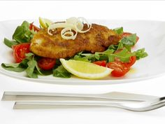 Chicken Milanese from Giada de Laurentiis.  She uses turkey, but I make this using chicken.