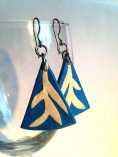 Triangle Blue White Hanji Paper Dangle Earrings Leaf by HanjiNaty, $14.00