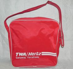 VINTAGE TWA RED HERTZ GETAWAY VACATIONS CARRY ON BAG SHOULDER TOTE OVERNIGHT BAG