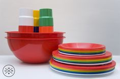 Vintage MOD picnic set by Ingrid known as the Party ball. Space age design with multi-colored cups, plates and saucers all contained in a bright red ball. Two halves of ball act as large bowls and dividing piece is small tray. Great piece for the modern minded picnicker.    $30