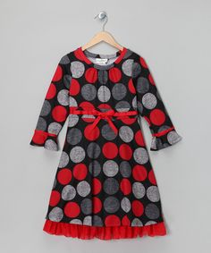 Take a look at this Red & Gray Polka Dot Dress - Girls & Girls' Plus on zulily today!