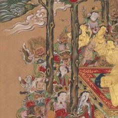 """This painting depicts the death of Sakyamuni, the historical Buddha, in 438 B.C. The Indian prince turned sage is shown lying on his side, having delivered his final teachings. At the moment of his death, the Buddha was said to enter nirvana. Around him are his disciples in monks' robes, a group of five bodhisattvas with golden-yellow skin, guardian deities, monks, laymen, and animal beings. All are shown expressing profound grief. The square """"Kunju"""" relief seal dates this painting to a…"""