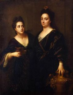 Jean-Baptiste Santerre (1650 - 1717) - Portrait of two actresses, 1699