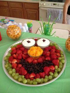 fruit tray because I love Mitzie more than I dislike Elmo Lila Party, Elmo Party, Mickey Party, Dinosaur Party, Dinosaur Birthday, Fruit Party, Sesame Street Party, Sesame Street Birthday, Sesame Street Snacks