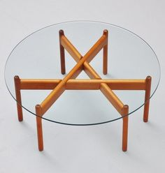 Grete Jalk; Teak and Glass Coffee Table for France and Son, 1960.