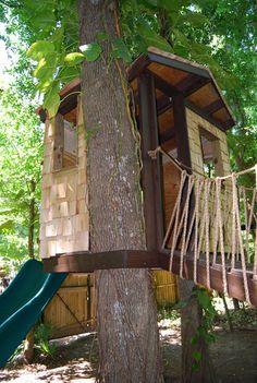 Awesome Treehouse for the Backyard - love the cedar shingle siding