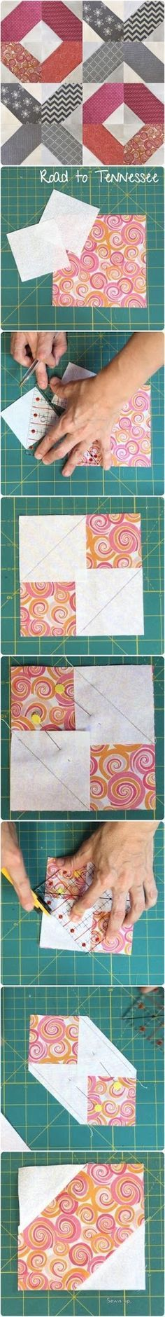 Road to Tennessee block - quick and easy modern block and quilts - tutorial