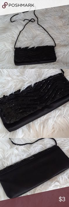 BLACK SEQUINED SHOULDER BAG PARTY PURSE Rope strap, snap closure, inside pocket, can be carried as a clutch. La Regale Bags Shoulder Bags