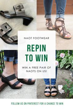 **GIVEAWAY** Who wants to win a brand new pair of sandals for summer? Repin for a chance to win one pair of Naot sandals of your choosing! A winner will be chosen on Tuesday, July 25th!