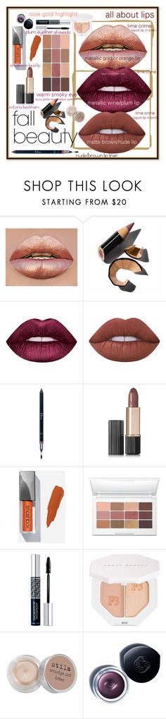 """Fall Beauty Staples: All About Lips + Warm Smoky Eye"" by maggiesinthemoon on Polyvore featuring Bobbi Brown Cosmetics, Lime Crime, Christian Dior, Estée Lauder, Laura Geller, Puma, Stila and Shiseido"
