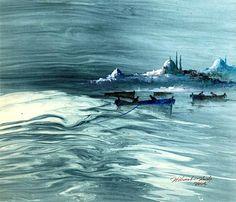 Hikmet Barutçugil Ebru Art, Sans Art, Water Marbling, Turkish Art, Marble Art, Traditional Art, Istanbul, Palette, Waves