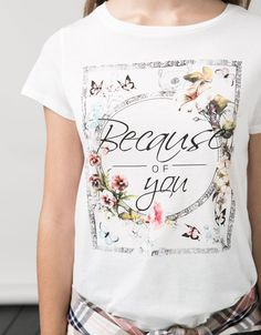 BSK T-shirt 'Listen mariposa/Because flores' - T-shirts - Bershka United Kingdom