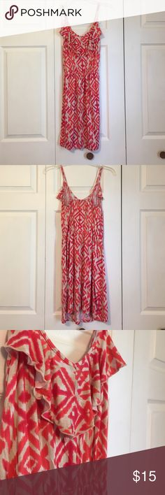 Orange Aztec Dress Never worn! Still has the tags on it! It is a cinched at the waist and is an orange red color! Let me know if you have any questions and feel free to make an offer! Rue 21 Dresses Mini