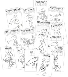 The wolf – The month playing cards Back To School Activities, Writing Activities, School Fun, First Day Of School, School Stuff, Petite Section, Grande Section, French Classroom, Primary Classroom