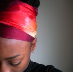 African Sunset Silk Hair Scarf  Hand Dyed by wasijiru on Etsy