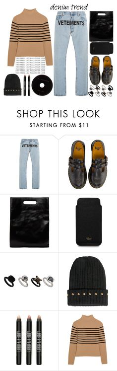"""""""Flare Up: Wide Leg Jeans"""" by emcf3548 ❤ liked on Polyvore featuring Vetements, Dr. Martens, Helmut Lang, Mulberry, Topshop, Boohoo, Lord & Berry, Topshop Unique, denimtrend and widelegjeans"""
