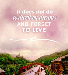 It does not do to dwell on dreams and forget to live