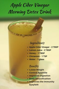 Apple Cider Vinegar Morning Detox Drink for Weight Loss,reduce the acid reflux, diabetes, acne, cold, sore throats, body detoxification, colon cleanse, etc. by Alex Efthymiou detox drinks cinnamon