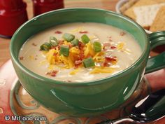 Potato Cheese Soup | mrfood.com I have been making this for years, although no vinegar & I add 1/2 to 1 cup room temp beer after cheese, depending on what you like. I always have people asking for recipe. If you double recipe, be careful about doubling the beer. Add a little at a time till you get flavor you want