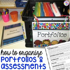 How to organize your student portfolios and assessments to make your teacher life easier. I can't wait to try these ideas in my preschool classroom. Preschool Assessment, Preschool Lessons, Kindergarten Classroom, Preschool Activities, Classroom Organisation, Teacher Organization, Classroom Ideas, Classroom Management, Classroom Resources