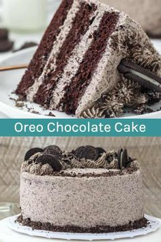 This Oreo Chocolate Cake is layers of moist, homemade chocolate cake filled with. - This Oreo Chocolate Cake is layers of moist, homemade chocolate cake filled with a creamy Oreo fros - Chocolate Oreo Cake, Chocolate Shavings, Homemade Chocolate, Chocolate Lovers, Homemade Snickers, Oreo Cookie Cake, Chocolate Frosting, Chocolate Cake Fillings, Chocolate Cake Recipes