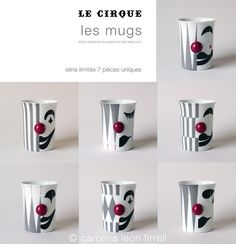 carolina león firrell - hand painted porcelain - special 7 pieces pop up collection of mugs for an exhibition in Paris