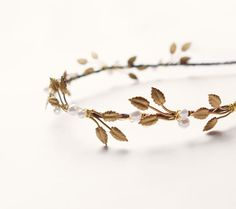 Bandeau de perles feuille d'or couronne or Bridal par whichgoose, $88.00